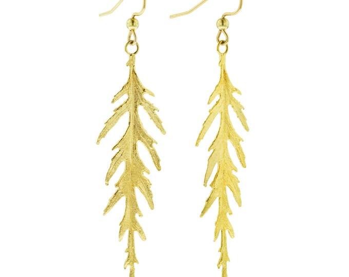 Golden Leaf Earrings- Long Japanese Maple Leaves