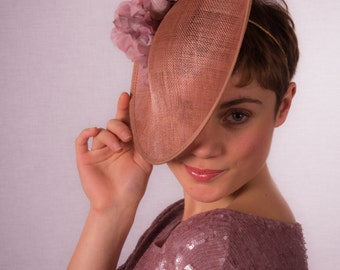 Distressed silk rose and sinamay hat CLEARANCE REDUCED 40%