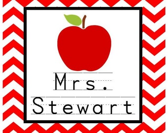 Teacher Red Chevron with Apple Sticker, Enclosure Card or Bookplate - Set of 24