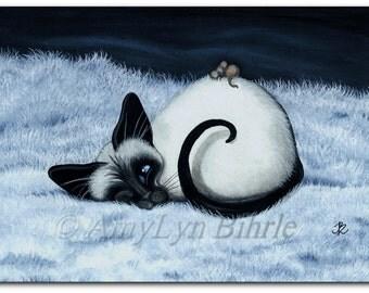 Siamese Cat Nap Cuddle Mouse - Art Prints by Bihrle ck390