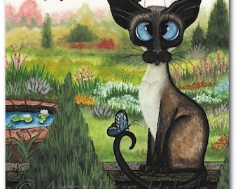Siamese Cat Dragonfly Garden - Art Prints by Bihrle ck381