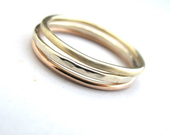 1.2mm 14k Tri-Color Bands - Solid 14kt Gold Stacking Rings in White Gold, Yellow Gold and Rose Gold in Shiny, Matte, and Hammered Finishes