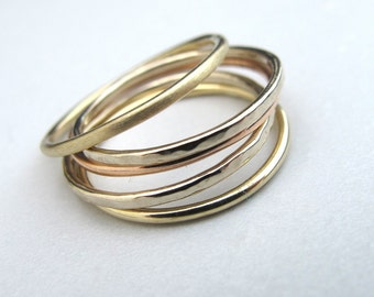 5 Solid 14k Gold Tri-Color Gold Stacking Rings - Customized Stack of Five 14kt Gold Rings - White Gold, Yellow Gold, Rose Gold