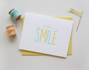 Smile Letterpress Card - Just because - Friendship