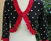 Women's Upcycled XS-Small Bolero Sweater- Polka Dot