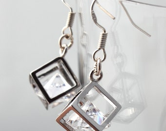 Modern geometric wire-frame silver plated cube and Swarovski crystal earrings- Simple bridal jewelry- Sterling silver hooks available