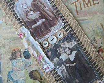 Fabric bookmark, 'shabby sisters' vintage images bookmark, tatting trim, french laundry label, handmade bookmark, OOAK bookmark, sister gift