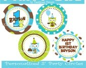 Party Owl Boy Party Circles - Buy 2 Get 1 FREE - DIY PRINTABLE File Personalized Party Decorations