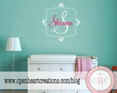 Teen Girl Name Decal - Baby Girl Initial and Name Wall Decal with Square Border 22H x 22W FN0339