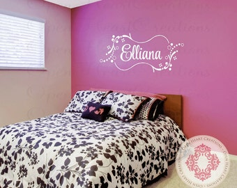Name Wall Decal for Girl or Boy - Cute Personalized Monogram Wall Decal with Rectangle Frame and Bubble Polka Dots 20h X 36w FN0016