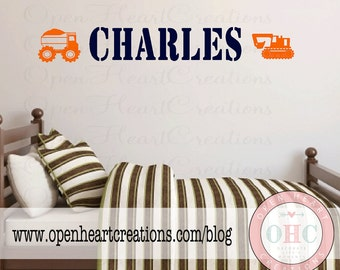Boy Name Wall Decal - Personalized Child Name with Construction Truck Theme - Bedroom Baby Nursery Play Room Decor INA0010