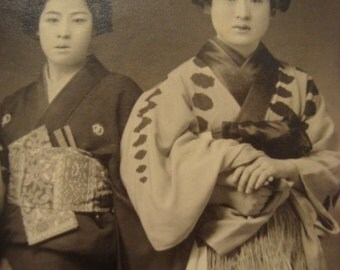 Nice Vintage Japanese Girls 3 in a row RPPC Postcard
