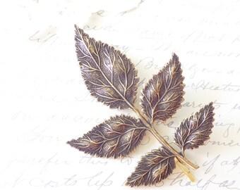 Leaf Branch Hair Pin - Large Ox Brass Leaf Spray Hair Pin -  Woodland Leaf Bobby Pin - Leaf Hair Accessory - Rustic Bridal Hair Pin