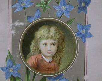 Pretty Long Haired Girl Surrounded by Flowers - Victorian Card Scrap - 1800's