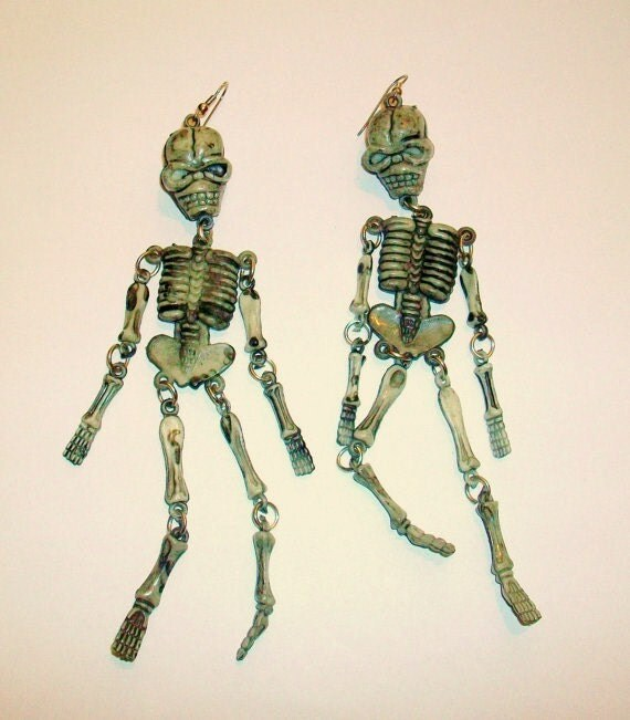 skeleton earrings skull bones by