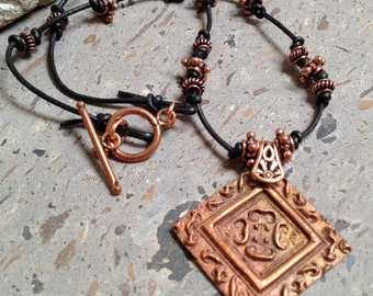 Solid Copper Pendant on Leather Cord Necklace - CopprClay