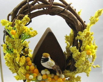 Bird with an A-Frame Birdhouse Christmas Ornament 701
