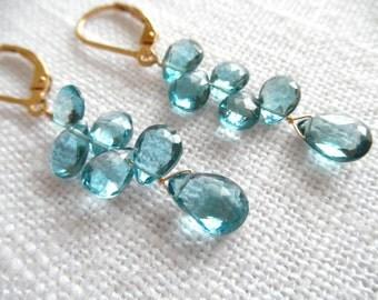 London blue topaz earrings - topaz earrings - blue earrings - gold earrings - L A U R E N 291