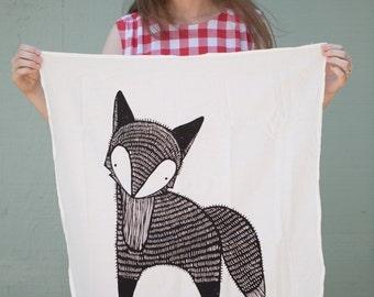 Fox Tea Towel, Fox Dish Cloth, Fox Kitchen Towel, Fox Gift, Christmas Gift, Woodland Fox, Baby Fox, Hand Towel, Mother Day Gift