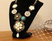 Shabby Chic Vintage Bridal Bib - Something Borrowed, Something Blue