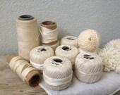 Vintage White Primitive Thread - Balls of thread - Crochet Thread - Free Shipping