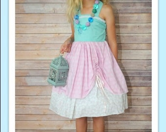 "Organic Aqua Blue & Light Pink ""Ocean Princess"" Cotton Sundress - Girls - Birthday - Party - Summer - Celebration - Special Occasion"
