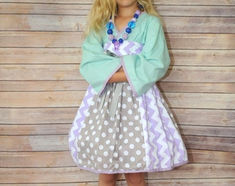 SALE - Unique & Modern Kimono-style Dress for Girls - Chevron - Polka Dots - Mint - Grey - Lavender - Japanese - Special Occasion - Party