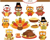 Thanksgiving clip art,fall clip art,Autumn clip art,thanksgiving turkey,cute autumn,owls clip art, fall clip art, instant download