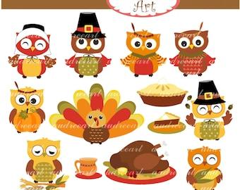 Thanksgiving clip art,fall clip art,Autumn clip art,thanksgiving turkey,cute autumn,owls clip art, fall clip art, instant download