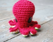 Christmas Octopus Ornament - Red and White and Green Handmade Cephalopod Plush Doll
