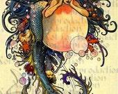 s575 VINTAGE ART NOUVEAU  Mermaid Fabric Quilt Block Mermaid Panel for Crafts.