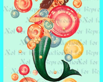 s566  VINTAGE MERMAID DECAL Quilt Block Mermaid Fabric Applique Quilting Supplies Quilts Diy Crafts.