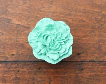 SALE Drawer Knobs Peony Flower in Light Green, more COLORS available (RFK02)