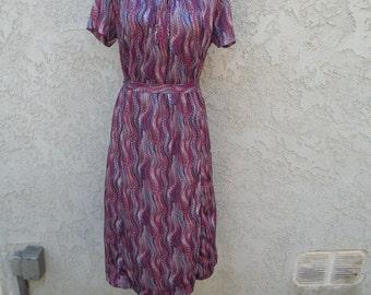 1960s Vintage Purple Secretary Dress (Large)