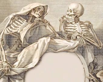 Digital Image Instant Download Shrouded Skeleton Men in Conversation You Print Digital Image Prints 5 x 7 Image