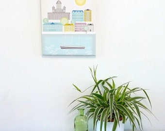 Helsinki Canvas Art Print, Finnish Finland Framed Mounted Skyline / Skyline / Cityscape, For Home, Office, Babies and Nursery, ready to hang