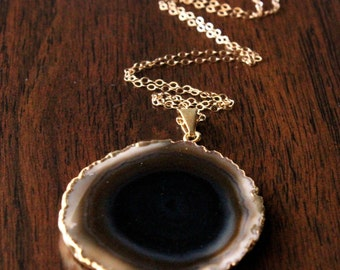 Quarry Necklace // Cream, Brown, and Black Agate Slice Pendant on 14k Gold Filled