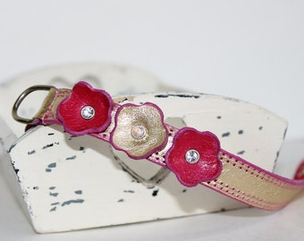 Gold and Pink  Leather Dog/Cat  Collar ,Flower  Collar