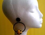 1970's Yellow Ball with Dots Hoop Disco Earrings