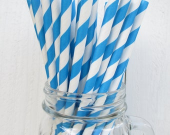 250 Superhero Blue and White Striped Paper Straws Wedding Shower Party