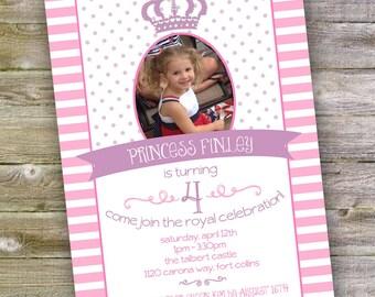 Princess Themed Birthday Invitation (4x6 or 5x7) Digital Design