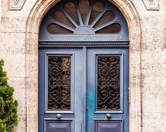 Paris Photography - Faded Blue Door, France Travel Photography, French Home Decor, Large Wall Art