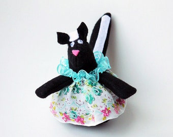 Little Skunk Ornament or Door Hanger Made with Black and White Felt and a Vintage Handkerchief in Teal, Pink and White