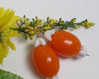 Vintage deep orange resin bead earrings,white milk glass crown bead earrings,orange beads,orange bead earrings,women,teens,eco-friendly