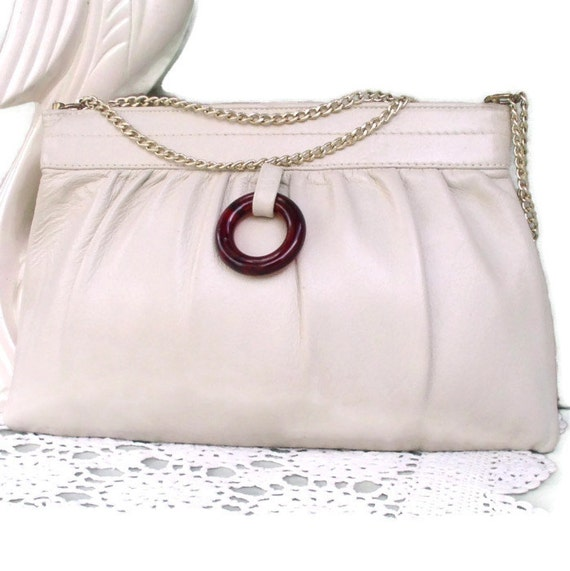 Vintage Handbag Clutch Shoulder Bag Neutral Creamy Beige Tortoise Shell Accent Goldtone Chain Small Purse