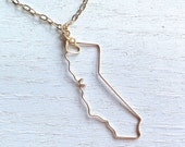 California Necklace - California State Necklace - State Jewelry - Personalized Necklace - CA Necklace - Silver or Gold - Gift