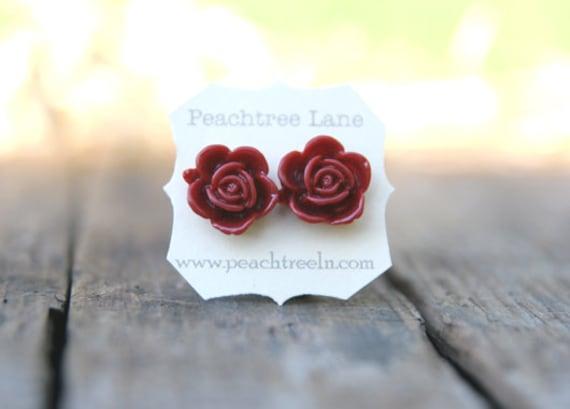 Oxblood Red Rose Flower Earrings << Deep Red Earrings >> Bridesmaid Earrings << Bridesmaid Gifts