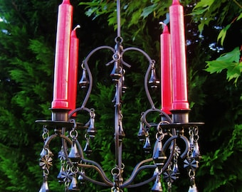 Dark Magic Glossy Black on Black 4 Candle Chandelier MADE To Order