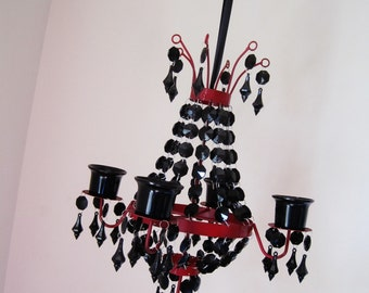 Mysterious and Sexy Red and Black 4 Candle Chandelier MADE TO ORDER