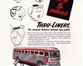 1953 ad TRAILWAYS BUS Thru Liner retro travel transportation Hamilton Illinois watches on back automobilia for framing - Free U.S. shipping